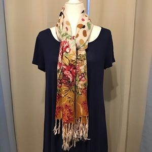 Flowers and Dots Wrap , Scarf.